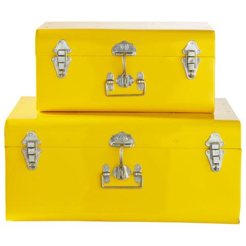 2 malles en m tal jaunes l 44 cm et l 56 cm maisons du monde for Boite a chapeau maison du monde