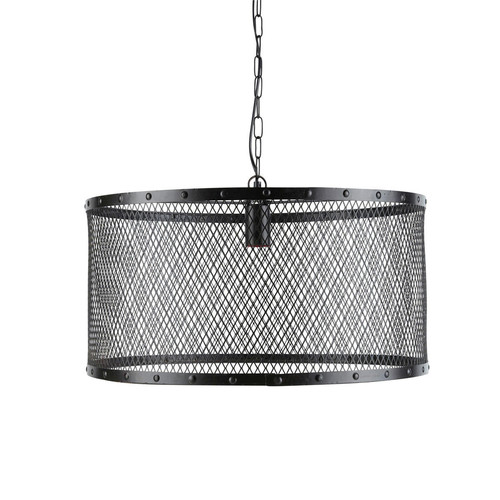 lampadario nero : Lampadario nero stile industriale in metallo a griglia D 55 cm LOUIS ...