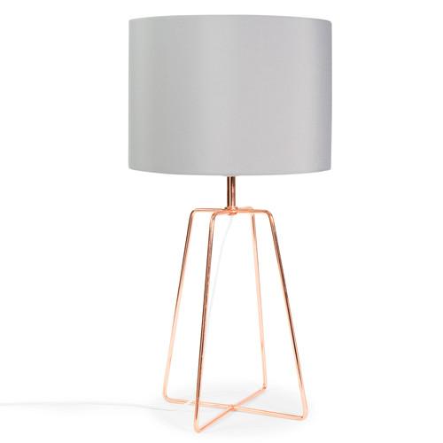 Lampe Grau Stoff : lampe crossy copper aus metall mit lampenschirm aus grau stoff h 49 cm kupferfarben maisons ~ Indierocktalk.com Haus und Dekorationen