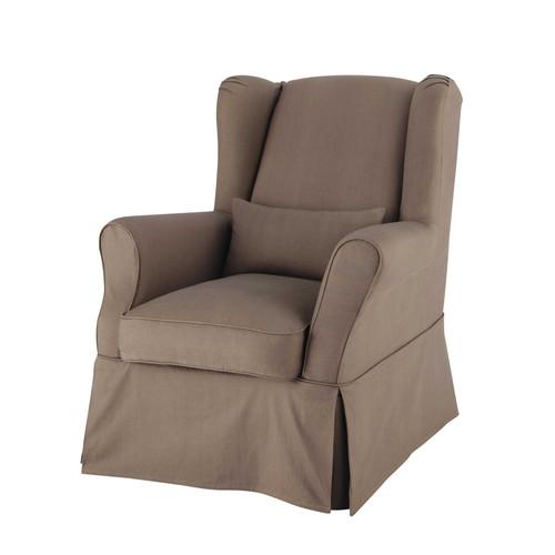 housse de fauteuil en coton taupe cottage maisons du monde. Black Bedroom Furniture Sets. Home Design Ideas