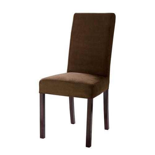 Housse de chaise en coton chocolat margaux maisons du monde - Housse de chaise en simili cuir ...