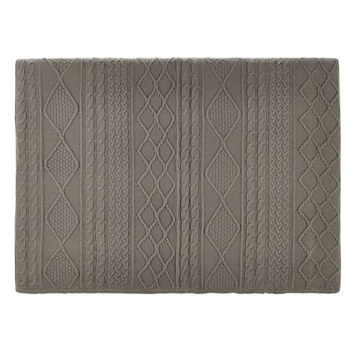 t te de lit 160 en tissu tricot grise tricot maisons du. Black Bedroom Furniture Sets. Home Design Ideas