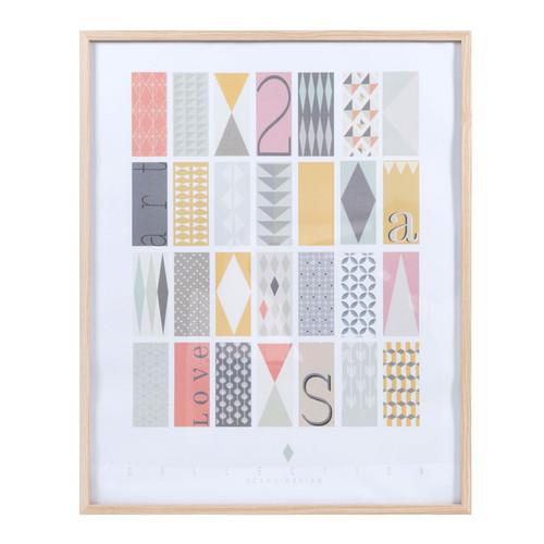 Tableau en bois multicolore 60 x 75 cm collection for Tableau scandinave