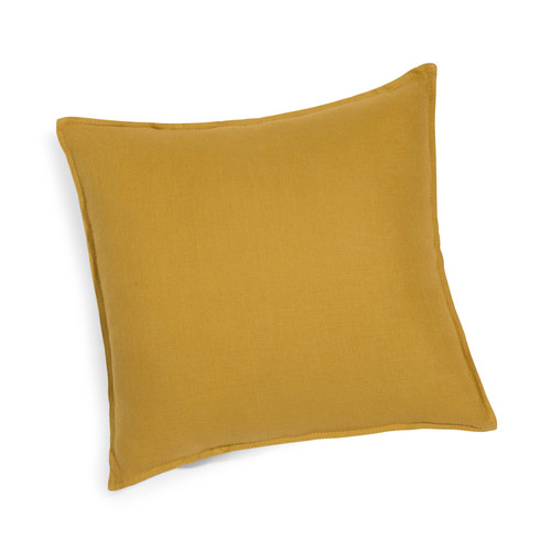 coussin en lin lav jaune moutarde 45 x 45 cm maisons du monde. Black Bedroom Furniture Sets. Home Design Ideas