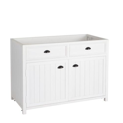Meuble bas de cuisine en bois blanc l 120 cm newport - Meuble de cuisine 120 cm ...