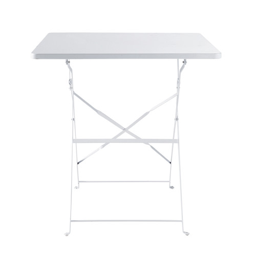 Table pliante de jardin en m tal blanche l 70 cm - Table de jardin metal ...