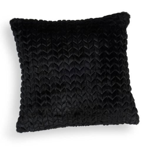 housse de coussin en fausse fourrure noire 40 x 40 cm knit. Black Bedroom Furniture Sets. Home Design Ideas