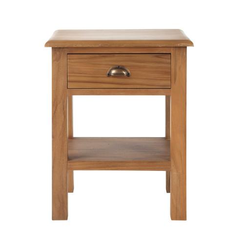 Table de chevet avec tiroir en teck massif l 47 cm amsterdam maisons du monde - Chevet tiroir a suspendre ...