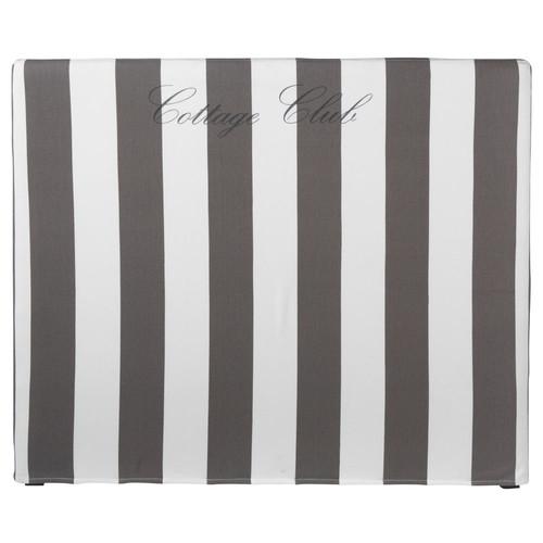 Housse t te de lit ray e gris blanc 140 cm dream - Housse tete de lit 140 ...