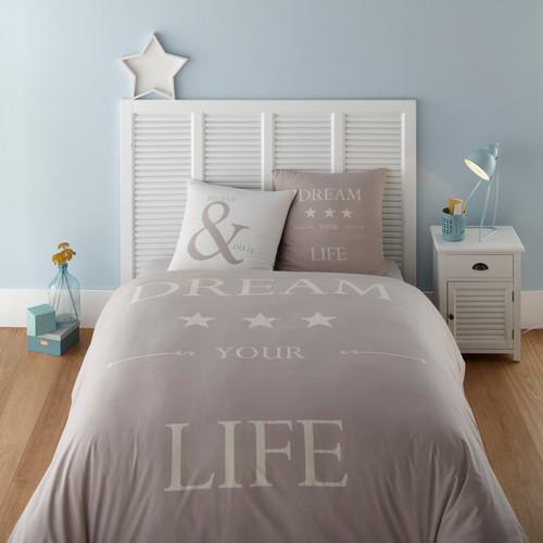 Parure de lit 240 x 260 cm en coton grise et blanche dream for Parure de lit blanche
