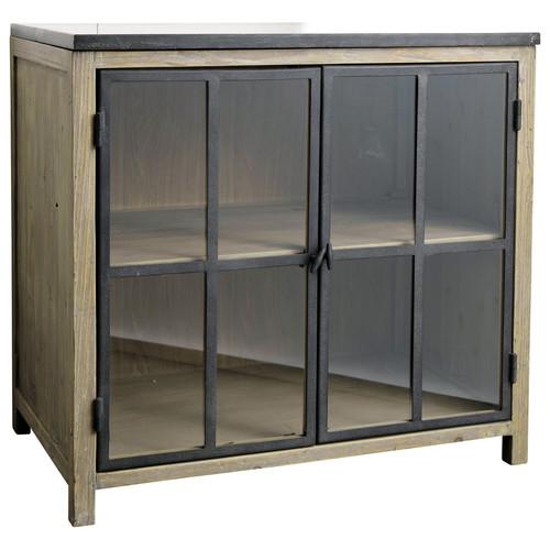 Meuble bas vitr de cuisine en bois et pierre l 90 cm for Cuisine bois et pierre