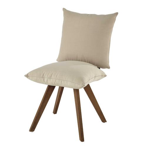 Chaise en tissu d perlant et bois crue nola maisons du monde - Chaise tissu et bois ...