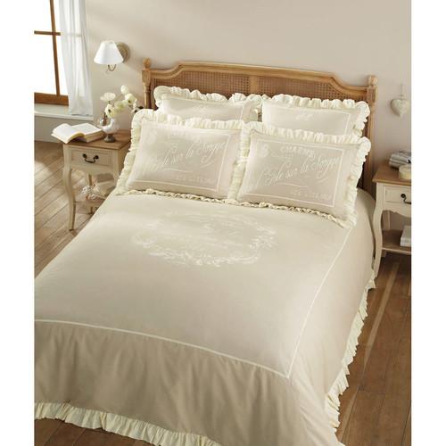 Parure de lit 220 x 240 cm en coton beige sorgue - Parure de lit maison du monde ...