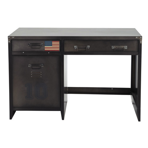 bureau indus en m tal l 115 cm andrews maisons du monde. Black Bedroom Furniture Sets. Home Design Ideas