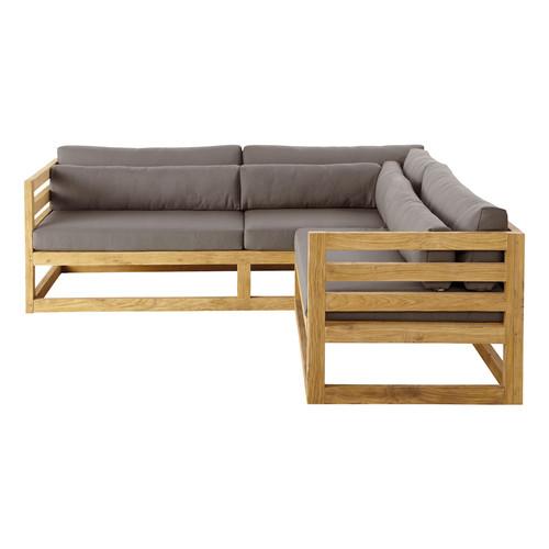 Canapé d angle de jardin 3 4 places en teck Cyclades