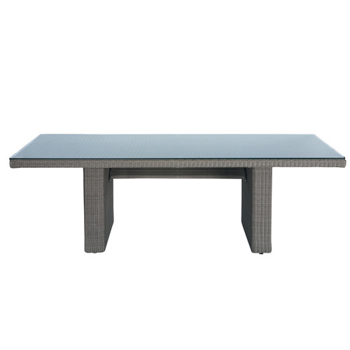 table de jardin en verre tremp et r sine tress e taupe l 230 cm palerme maisons du monde. Black Bedroom Furniture Sets. Home Design Ideas