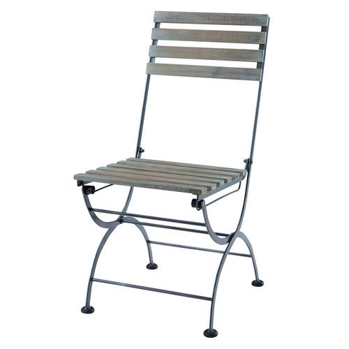 silla plegable de jard n de metal y acacia gris garden