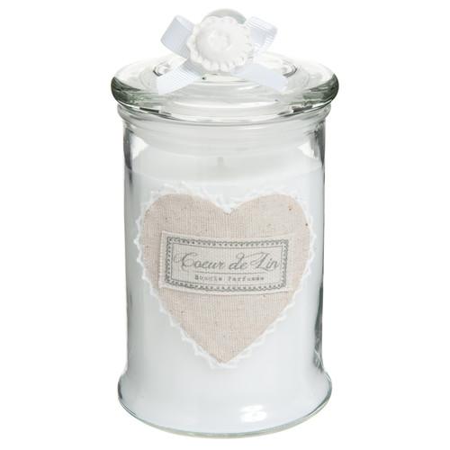 bougie bonbonni re en verre blanche h 15 cm c ur. Black Bedroom Furniture Sets. Home Design Ideas
