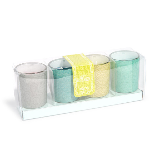 coffret 4 bougies parfum es jaunes grises et vertes aqua. Black Bedroom Furniture Sets. Home Design Ideas