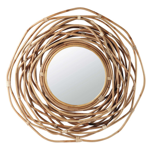 Miroir rond en bambou h 90 cm sumba maisons du monde for Miroir rond 90