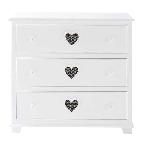 Commode en bois blanc l 90 cm valentine maisons du monde - Commode en bois blanc ...