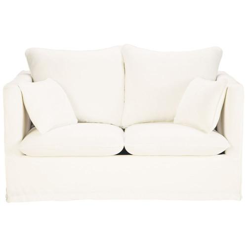 Canap 2 places en lin blanc timoth e maisons du monde - Canape en lin blanc ...