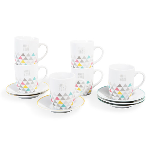 coffret 6 tasses en porcelaine multicolores nordic home maisons du monde. Black Bedroom Furniture Sets. Home Design Ideas