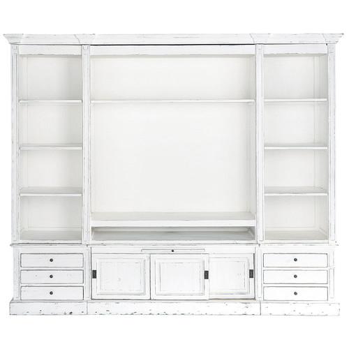 biblioth que meuble tv en bois massif ivoire l 264 cm passy maisons du monde. Black Bedroom Furniture Sets. Home Design Ideas