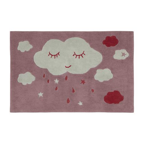 Tapis enfant nuage rose 80 x 120 cm coquette maisons du - Tapis rose chambre bebe ...
