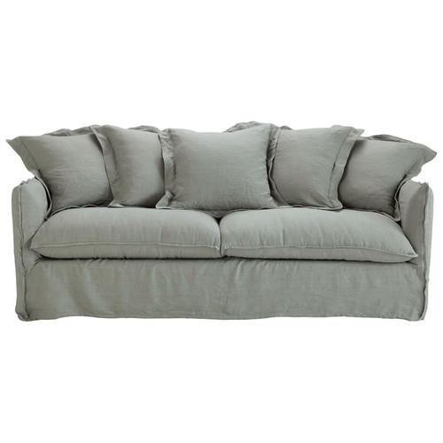 canap convertible 3 4 places en lin lav gris clair. Black Bedroom Furniture Sets. Home Design Ideas