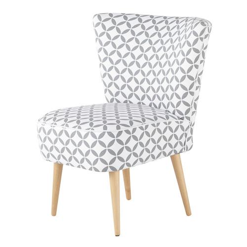 fauteuil vintage motifs en coton gris et blanc. Black Bedroom Furniture Sets. Home Design Ideas