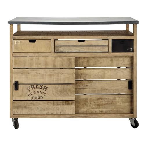 Mueble bar con ruedas de madera de mango an 120 cm for Mueble bar madera