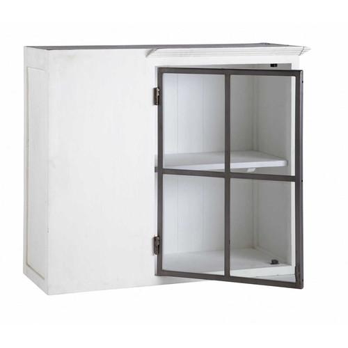meuble haut d 39 angle de cuisine ouverture gauche en bois recycl blanc l 94 cm ostende maisons. Black Bedroom Furniture Sets. Home Design Ideas