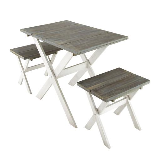 Comedor de jard n con mesa y 2 taburetes de madera for Comedor con taburetes
