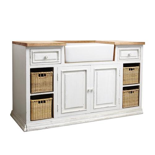 Mueble bajo de cocina blanco de mango con fregadero an - Muebles para fregadero ...