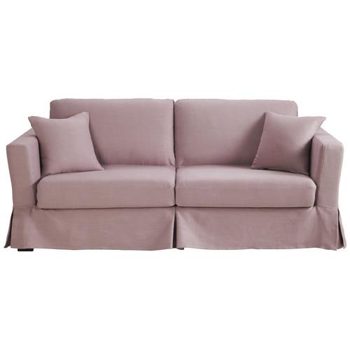 divano trasformabile a 3 posti in lino malva antico royan royan maisons du monde. Black Bedroom Furniture Sets. Home Design Ideas