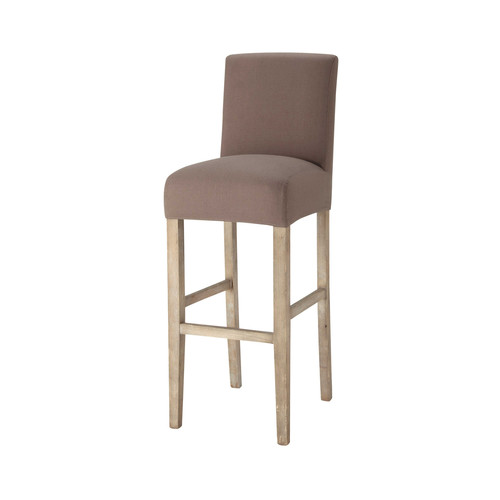 Housse de chaise de bar en coton taupe boston maisons du for Housse de chaise taupe