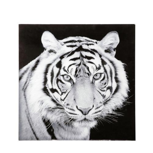tableau tigre en verre noir et blanc 70 x 70 cm sherkan maisons du monde. Black Bedroom Furniture Sets. Home Design Ideas