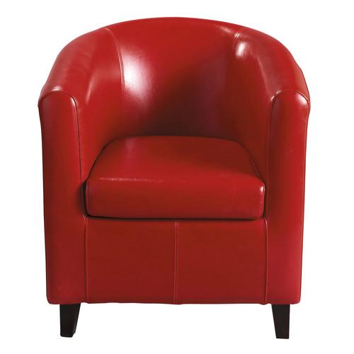 fauteuil imitation cuir rouge nantucket maisons du monde. Black Bedroom Furniture Sets. Home Design Ideas