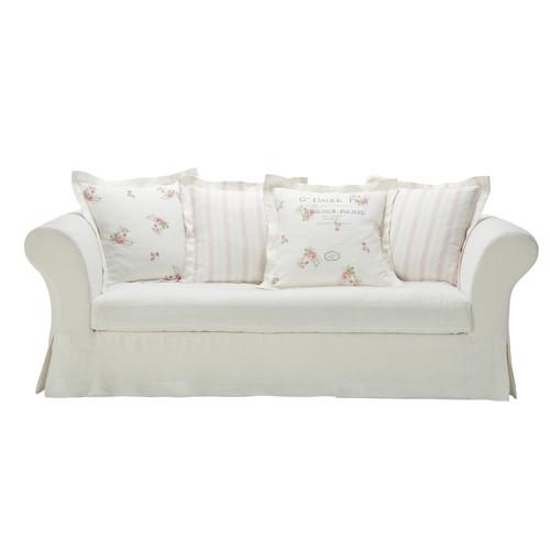White linen sofa seats 3 4 shabby for White linen sectional sofa