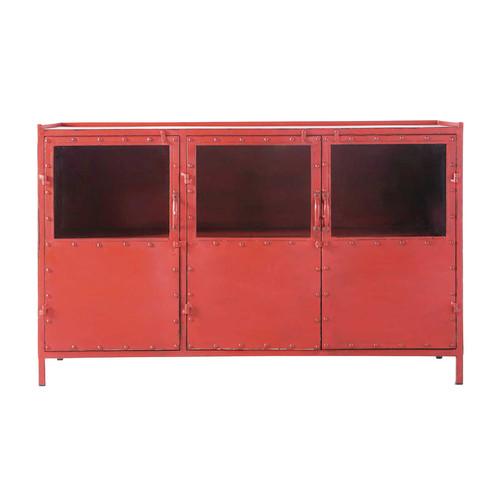 Credenza rossa con vetrine stile industriale in metallo l for Credenza industriale