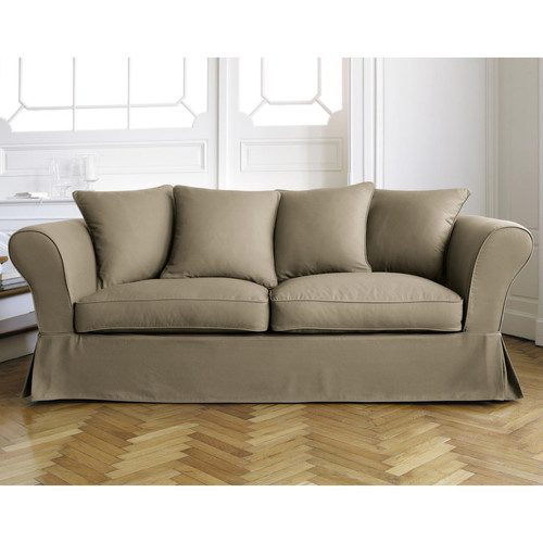 Canap 3 4 places convertible taupe roma maisons du monde - Canape convertible taupe ...
