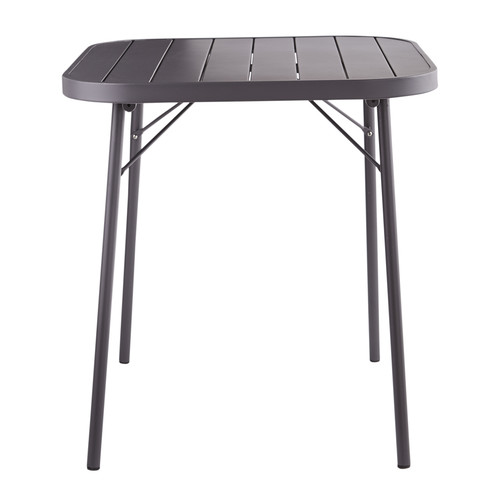 Table pliante de jardin en m tal gris ardoise l 70 cm for Table de jardin metal pliante