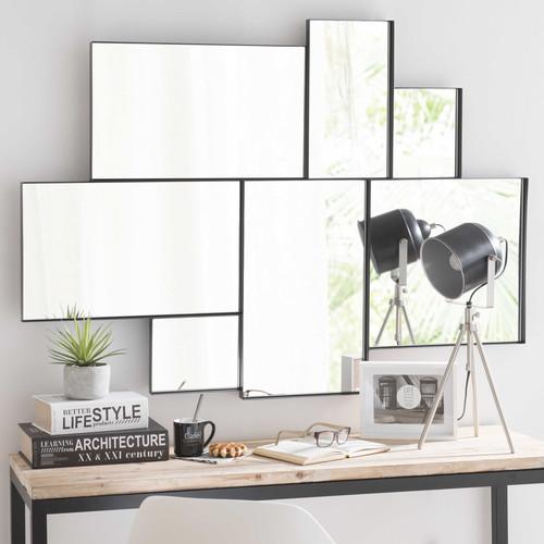 Miroir en m tal noir h 123 cm brooklyn maisons du monde for Miroir bord noir