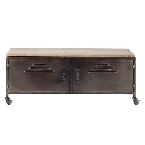 Meuble tv indus roulettes en m tal et bois effet vieilli for Effet vieilli meuble