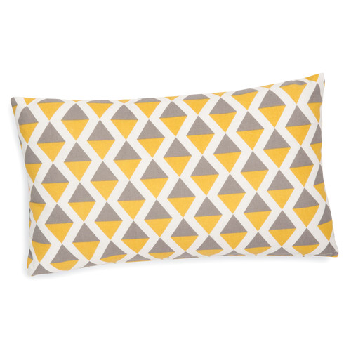 housse de coussin en coton grise jaune 30 x 50 cm sintra maisons du monde. Black Bedroom Furniture Sets. Home Design Ideas