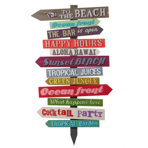 Panneau déco de direction en bois multicolore 45 x 80 cm FIESTA Maisons du Monde # Panneau Directionnel Bois