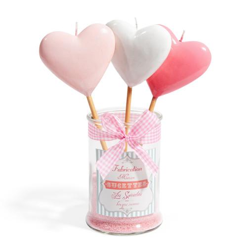 candela rosa 3 lecca lecca a forma di cuore h 11 cm. Black Bedroom Furniture Sets. Home Design Ideas