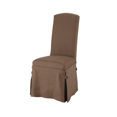 Housse longue de chaise en lin taupe alice maisons du monde for Housse de canape en lin