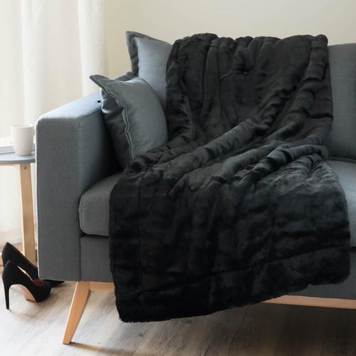 Jet en fausse fourrure noir 150 x 180 cm soho maisons - Jete de canape noir ...